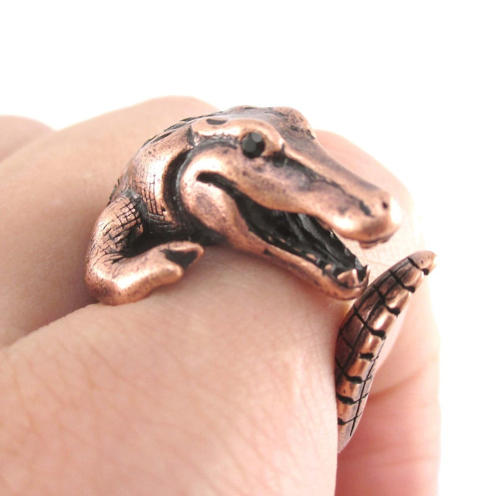Large Crocodile Alligator Dragon Animal Ring in Copper