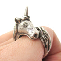 Large Detailed Unicorn Animal Wrap Around Ring in Silver | DOTOLY