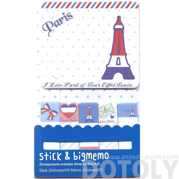 Large Eiffel Tower Print Paris Themed Memo Pad Post-it Index Tabs