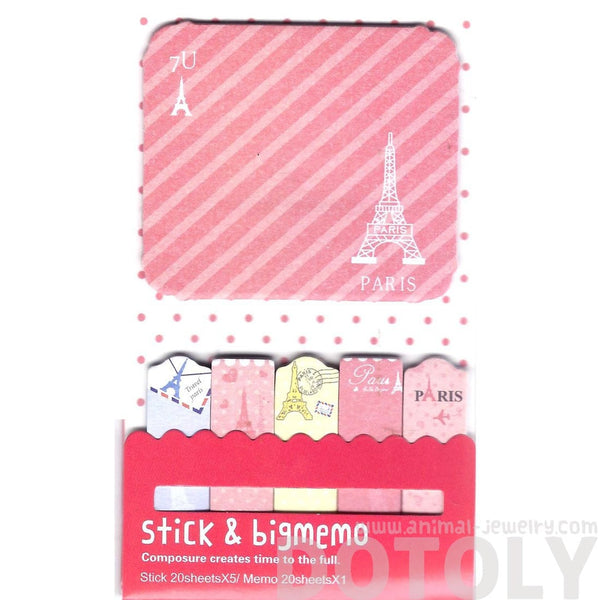 Large Eiffel Tower Travel Themed Pink Memo Pad Post-it Sticky Tabs