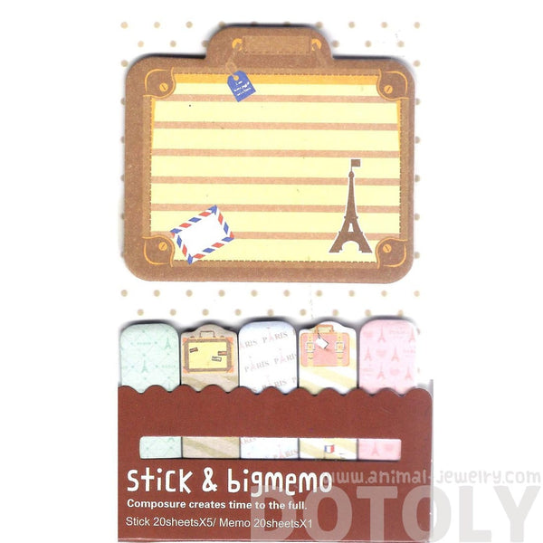 Eiffel Tower Suitcase Shaped Travel Themed Memo Pad Post-it Index Tabs