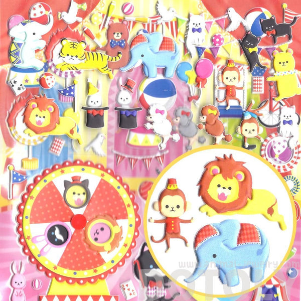 Large Elephant Monkey Bear Shaped Circus Animal Themed Puffy Stickers
