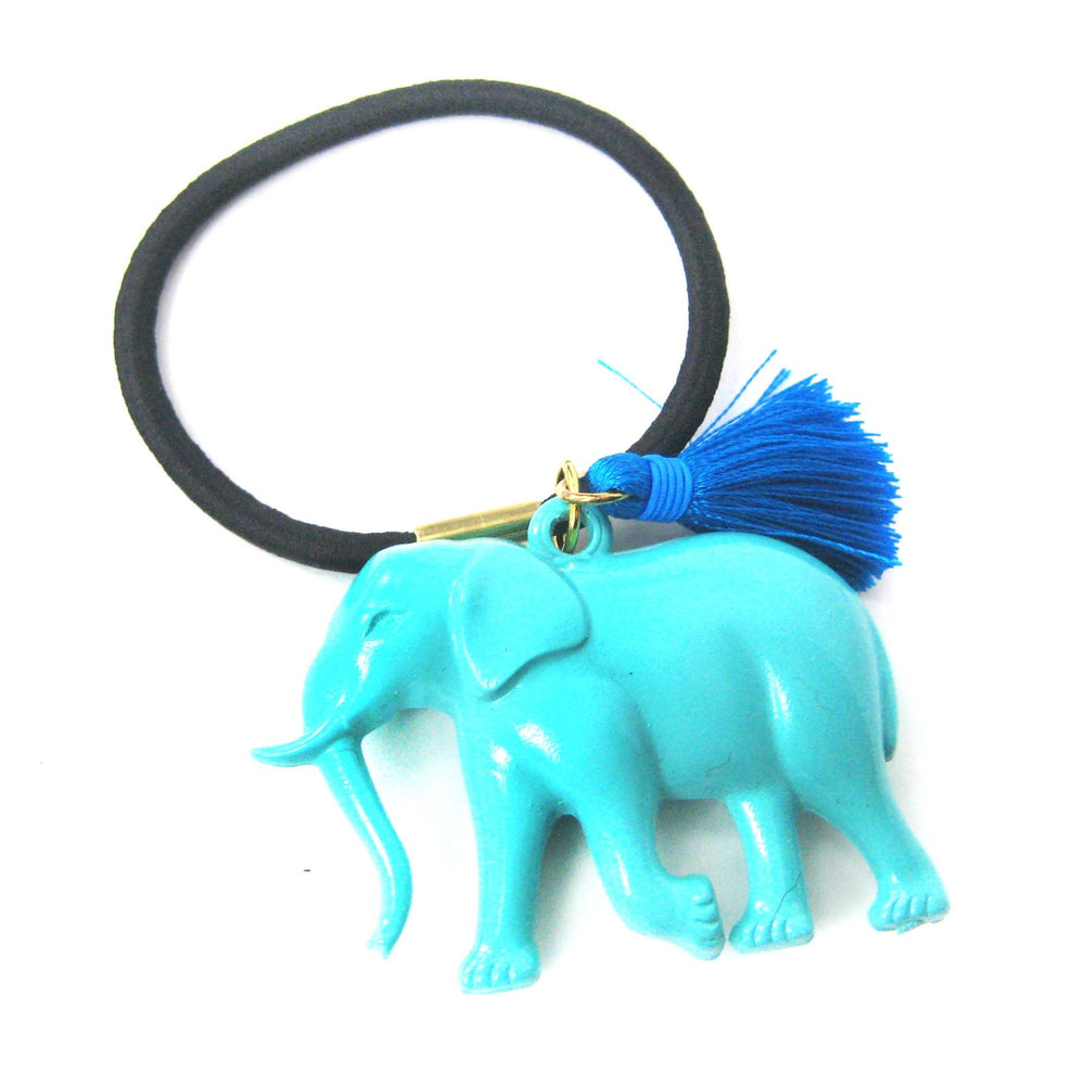 Large Elephant Pendant Hair Tie Pony Tail Holder in Mint Blue | DOTOLY