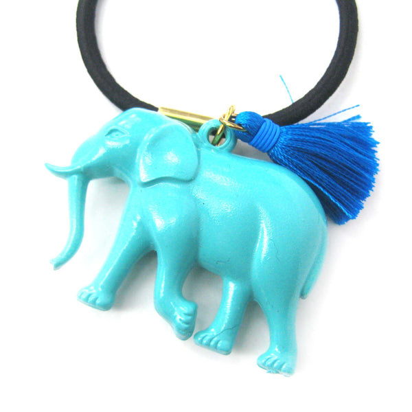 Large Elephant Pendant Hair Tie Pony Tail Holder in Mint Blue | DOTOLY | DOTOLY