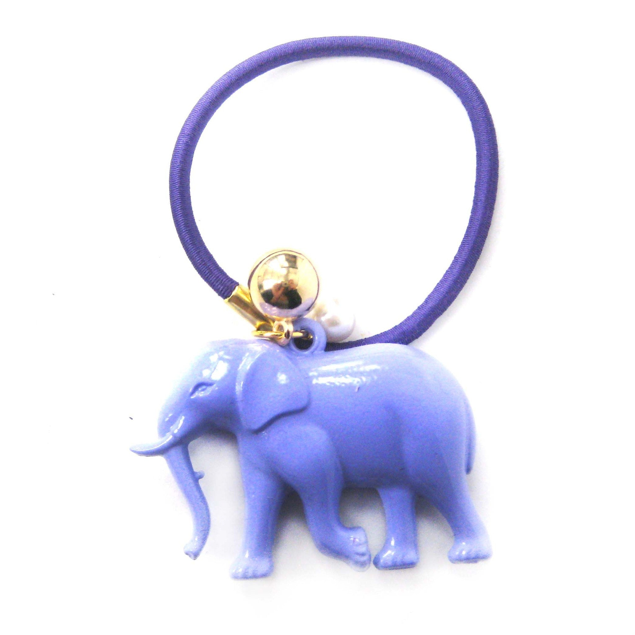 Large Elephant Pendant Hair Tie Pony Tail Holder in Purple | DOTOLY
