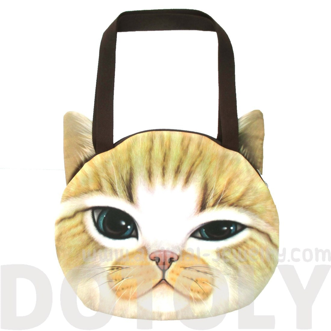 Large Ginger Kitty Cat Face Shaped Digital Print Shopper Shoulder Bag