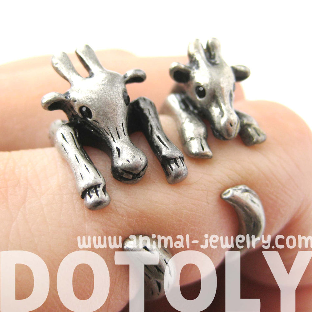 Large Giraffe Animal Wrap Around Ring in Silver - Sizes 4 to 9 Available