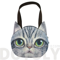 Grey Tabby Cat Face Shaped Shopper Tote Shoulder Bag