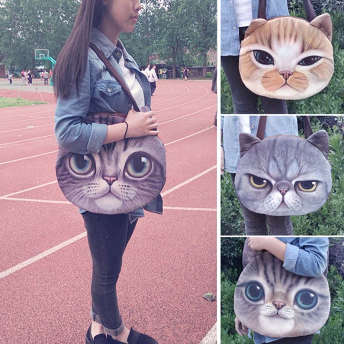Large Grumpy Cat Face Shaped Grey Tabby Shopper Tote Shoulder BagLarge Ginger Kitty Cat Face Shaped Digital Print Shopper Shoulder Bag