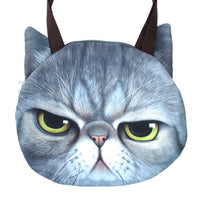 Large Grumpy Cat Face Shaped Grey Tabby Digital Print Shopper Tote Sling Bag | Gifts for Cat Lovers | DOTOLY
