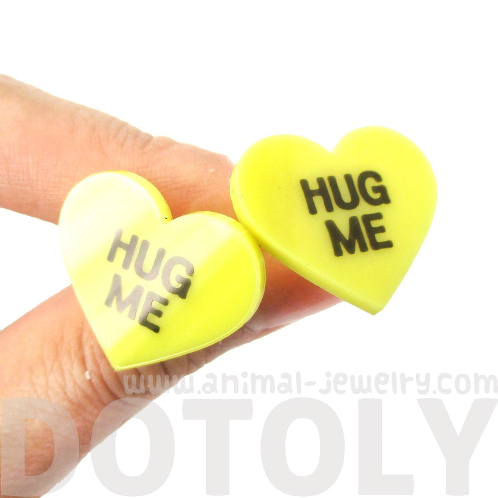Hug Me Candy Heart Sweetheart Shaped Laser Cut Stud Earrings in Yellow