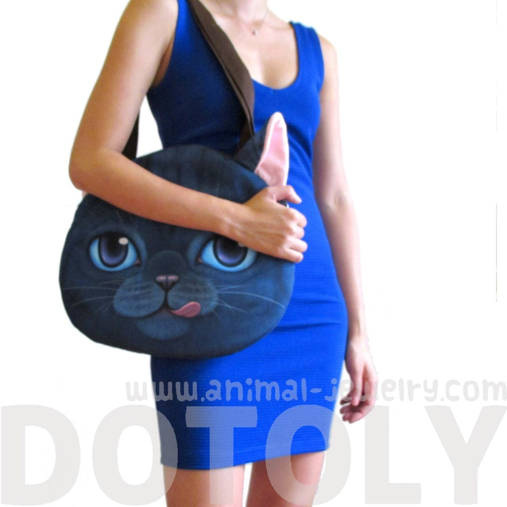 Kitty Cat Face Shaped Shopper Tote Shoulder Bag in Blue