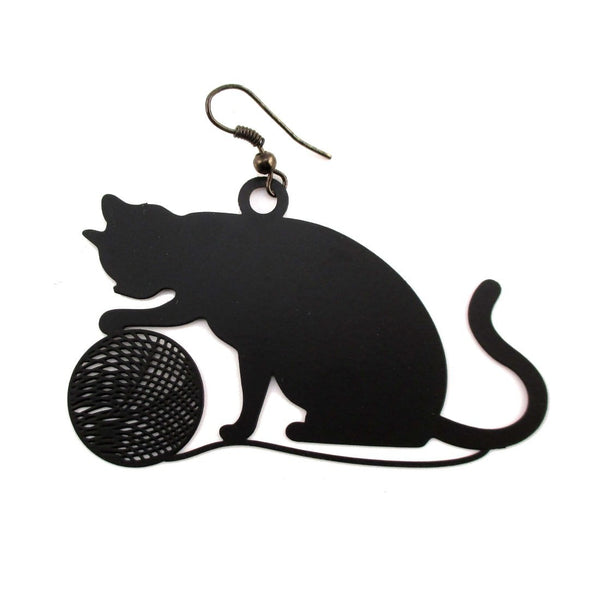 Kitty Cat Playing with Yarn Silhouette Shaped Earrings in Black