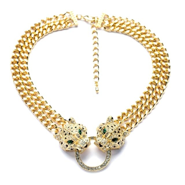 Large Leopard Cheetah Linked Chain Statement Necklace