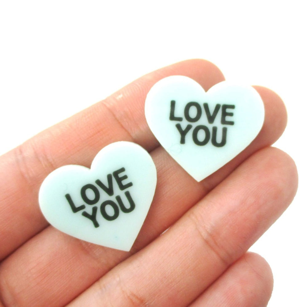 Love You Candy Heart Sweetheart Shaped Laser Cut Stud Earrings in Mint