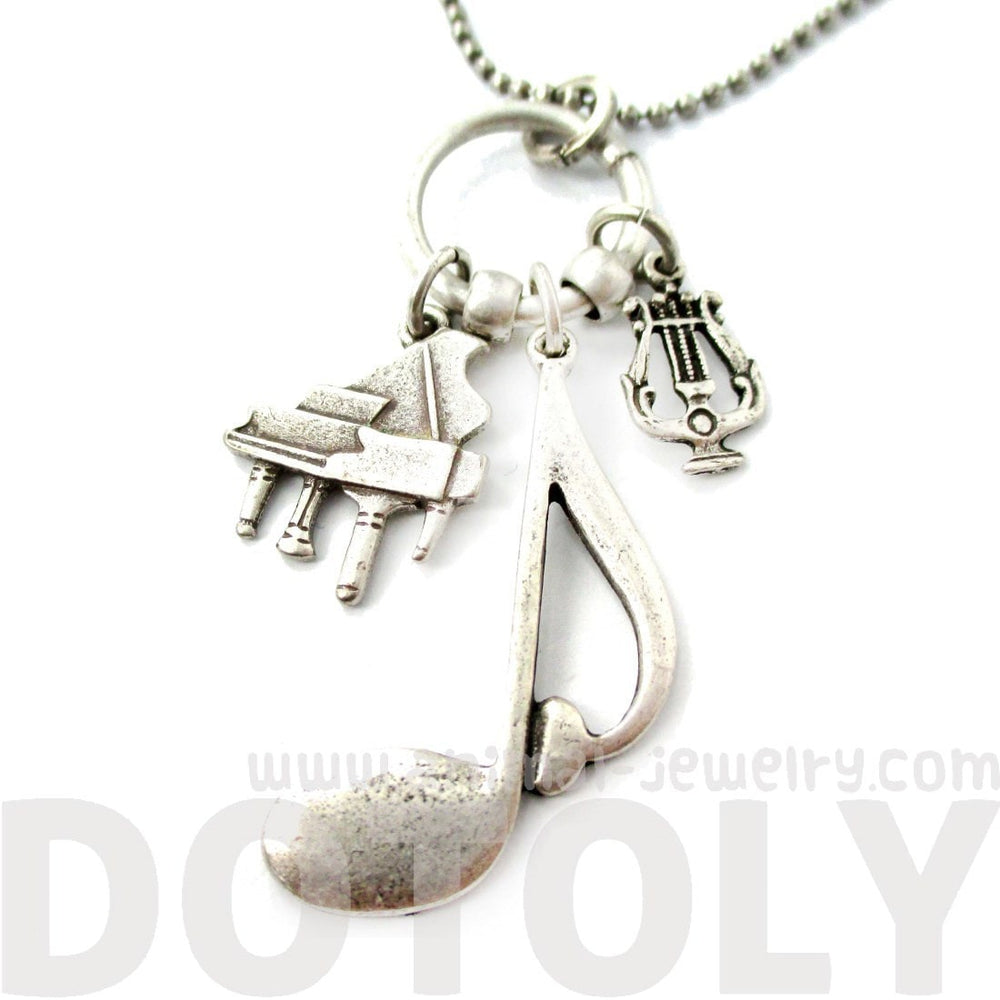 Large Quaver Note Grand Piano and Musical Notes Shaped Charm Necklace