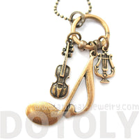 Quaver Note Violin and Musical Notes Shaped Charm Necklace in Bronze