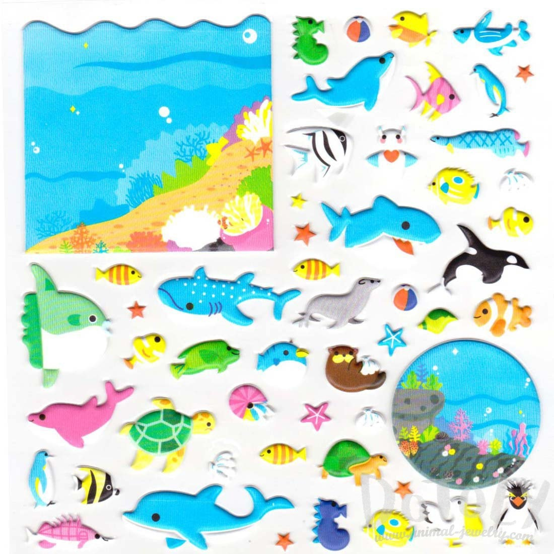 Sea Creatures Themed Whale Shark Dolphin Puffy Stickers
