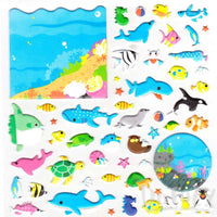 Large Sea Creatures Themed Whale Shark Dolphin Fish Puffy Stickers | 2 Sheets | DOTOLY
