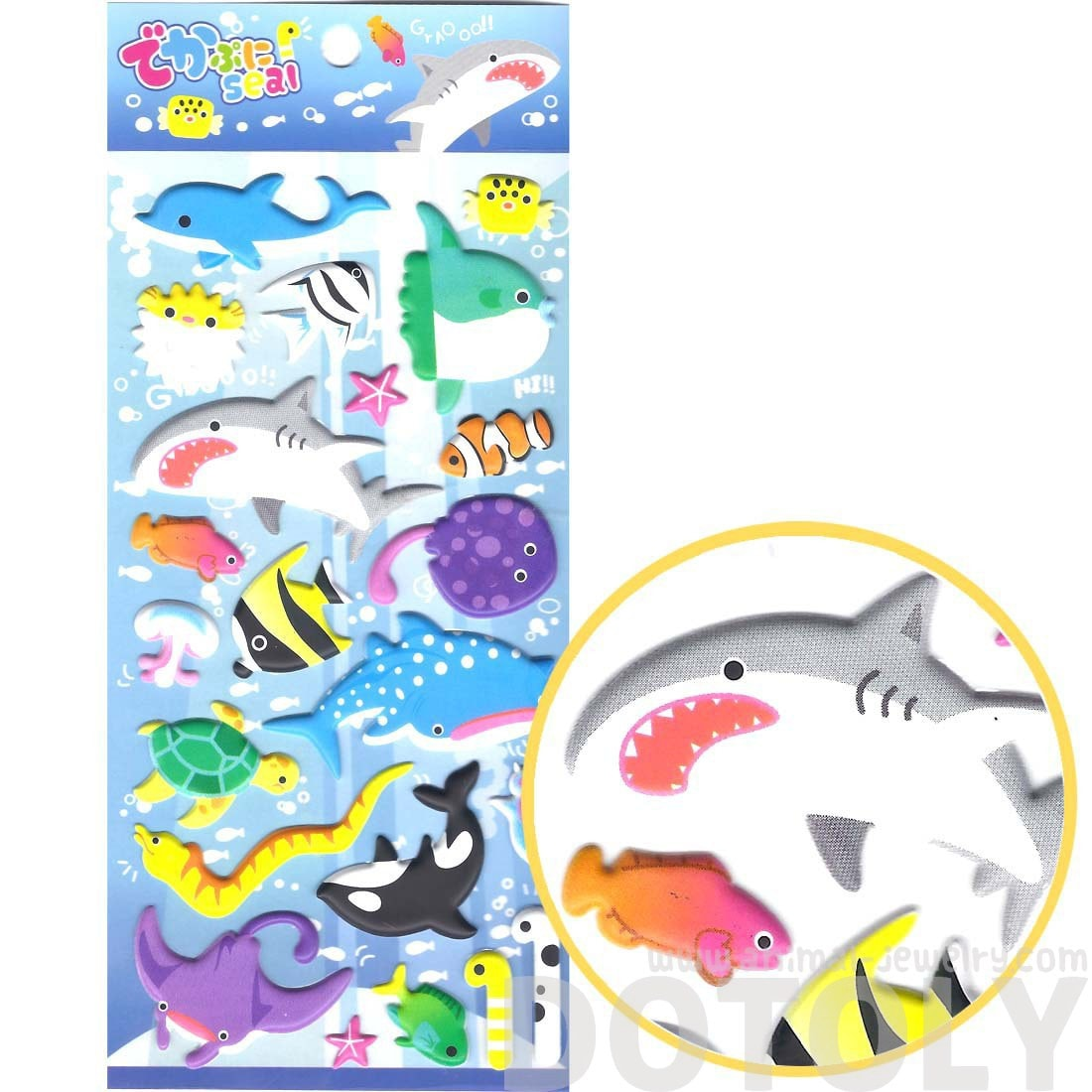 Large Sea Creatures Themed Shark Stingrays Fish Shaped Puffy Stickers