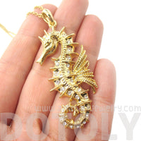 Seahorse Shaped Pendant Necklace in Gold with Rhinestones
