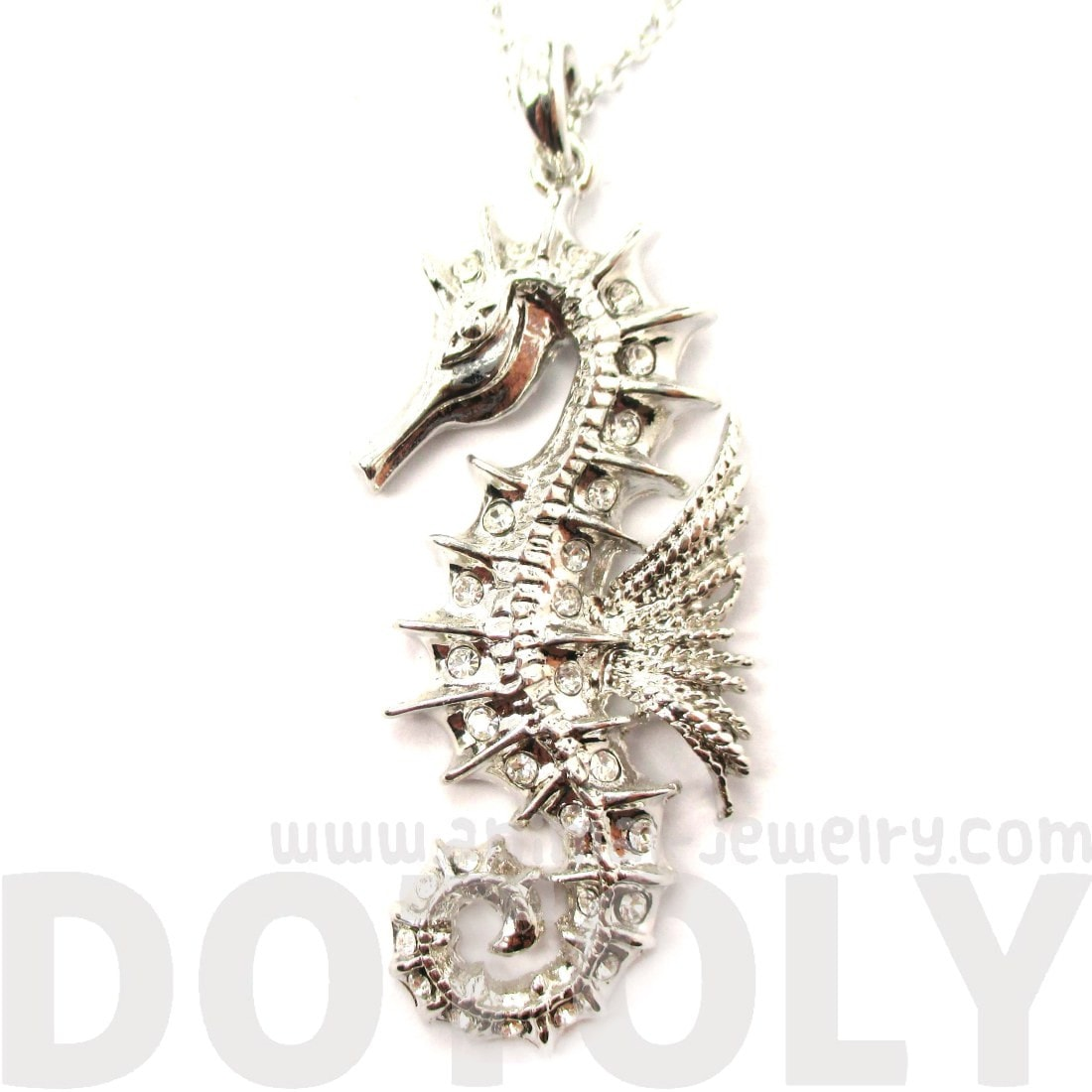 Seahorse Shaped Pendant Necklace in Silver with Rhinestones
