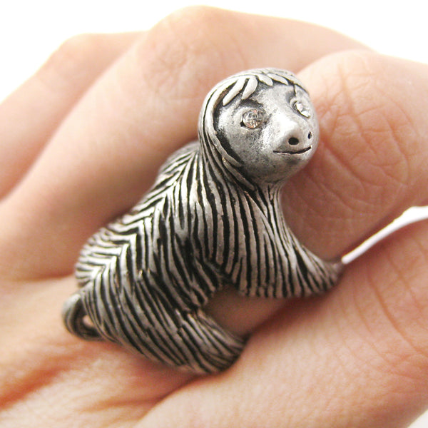Large Three Toed Sloth Shaped Animal Wrap Ring in Silver | US Sizes 4 to 9 | DOTOLY