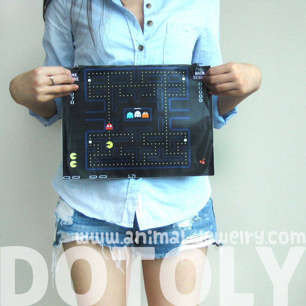 large-upcycled-vinyl-classic-pac-man-video-game-themed-print-clutch-bag