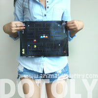 Large Upcycled Vinyl Classic Pac-man Video Game Themed Print Clutch Bag | DOTOLY