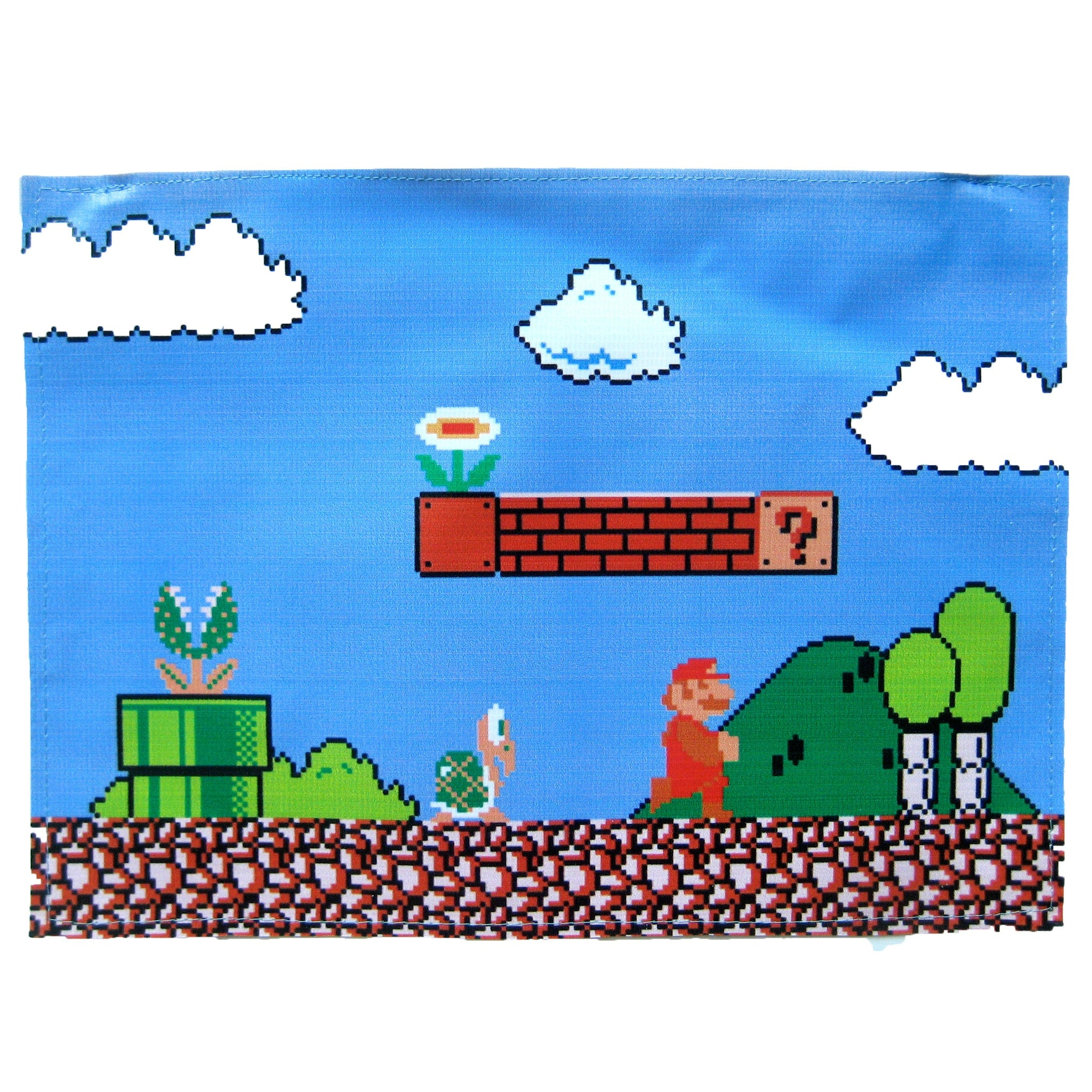 large-upcycled-vinyl-classic-super-mario-video-game-themed-print-clutch-bag