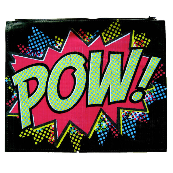 large-upcycled-vinyl-pop-art-pow-retro-print-clutch-bag-dotoly