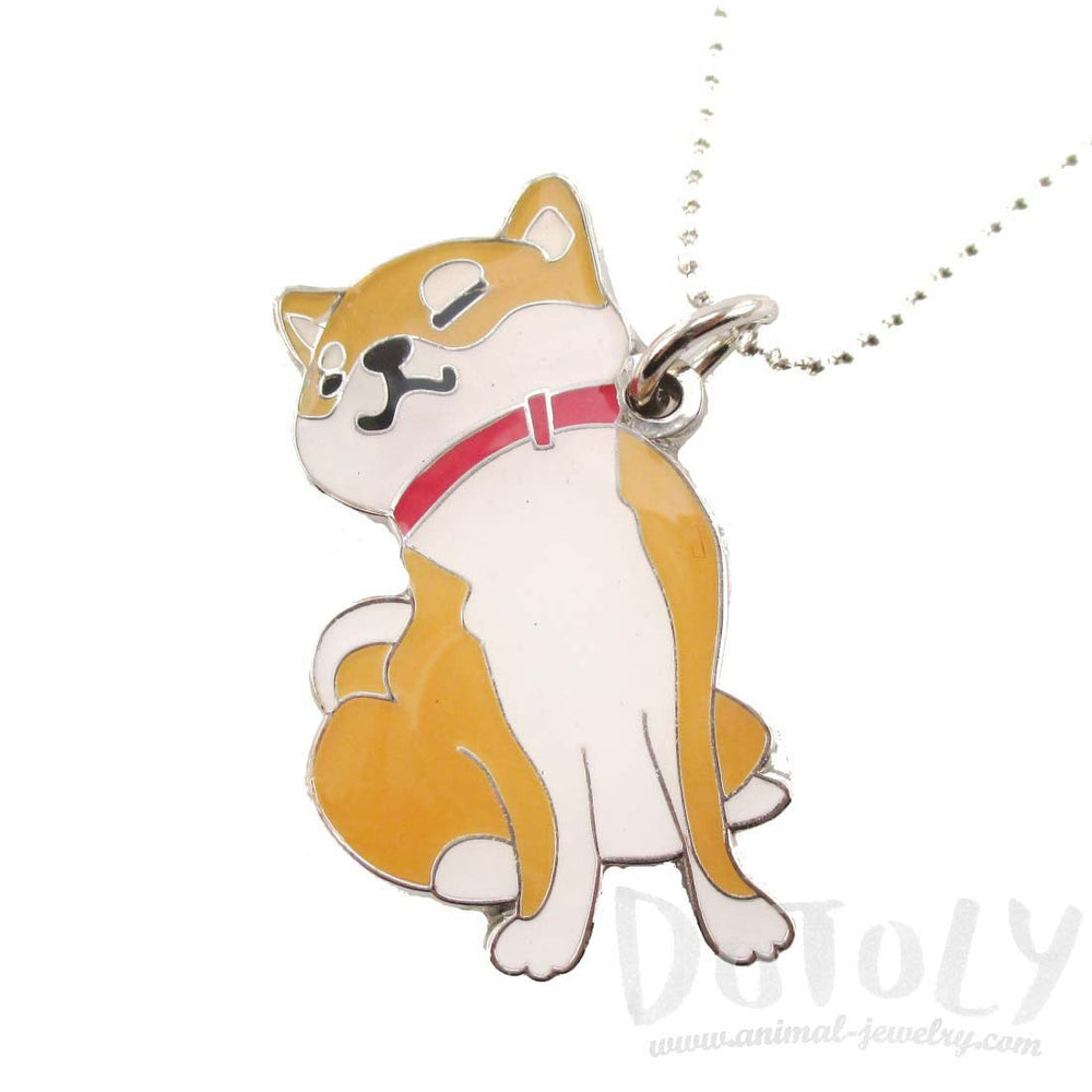 Lazy Shiba Inu Puppy Dog Shaped Animal Pendant Necklace | DOTOLY | DOTOLY