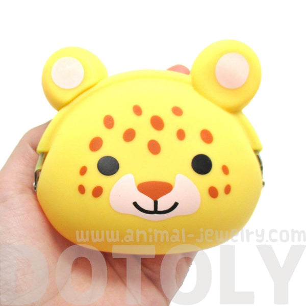 Leopard Cheetah Shaped Silicone Clasp Coin Purse Pouch