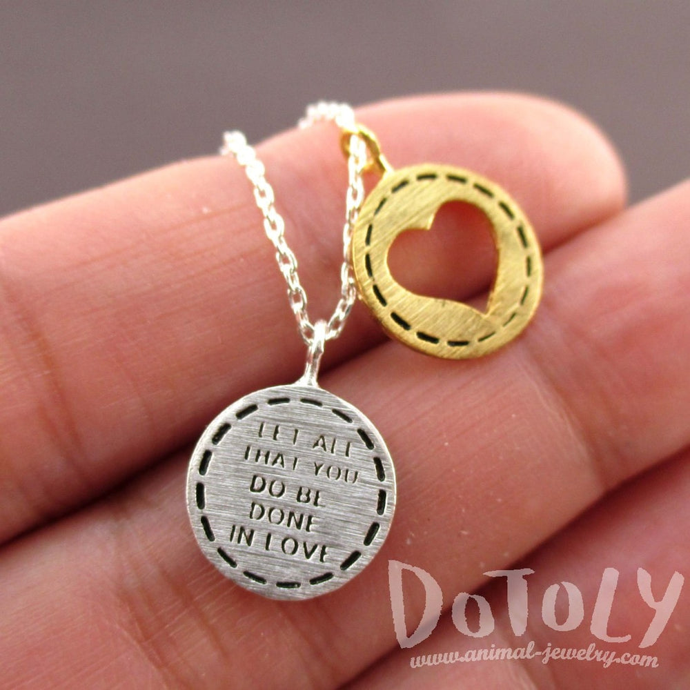 Let All You Do Be Done in Love Motivational Quote Charm Necklace in Silver with Heart | DOTOLY | DOTOLY