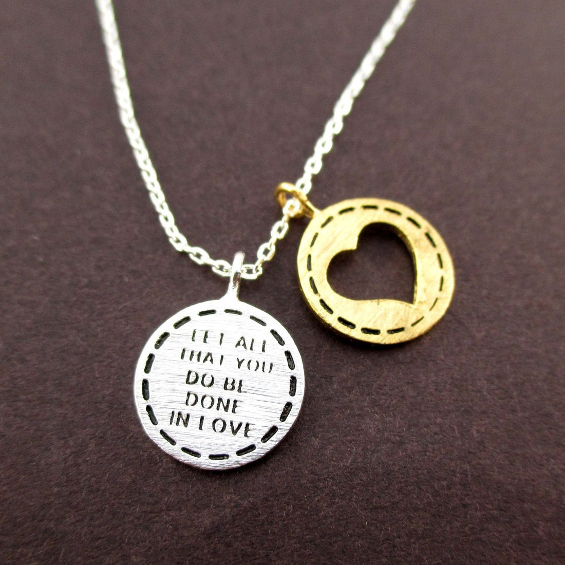 Let All You Do Be Done in Love Motivational Quote Necklace in Silver