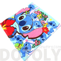Lilo and Stitch Alien Collage Print Square Face Towel Handkerchief in Blue | DOTOLY