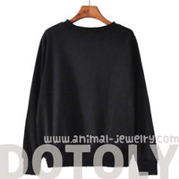 Lion Animal Face Graphic Print Long Sleeve Black Sweater Sweatshirt Top with Long Sleeves