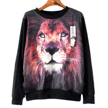 Lion Animal Face Graphic Print Long Sleeve Black Sweater Sweatshirt Top