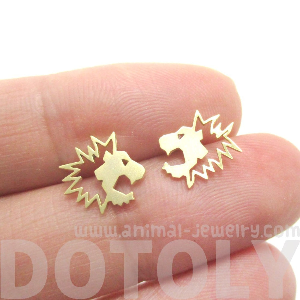 Lion Face Shaped Stud Earrings in Gold | Animal Jewelry