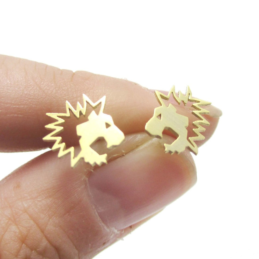 Lion Face Shaped Animal Cut Out Stud Earrings in Gold | Animal Jewelry | DOTOLY