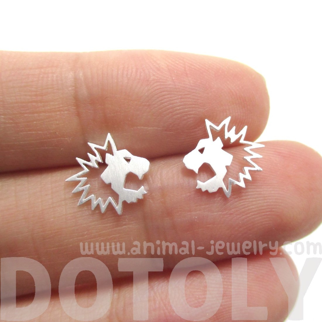 Lion Face Shaped Stud Earrings in Silver | Animal Jewelry