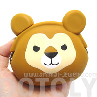 Lion Animal Face Shaped Silicone Clasp Coin Purse Pouch