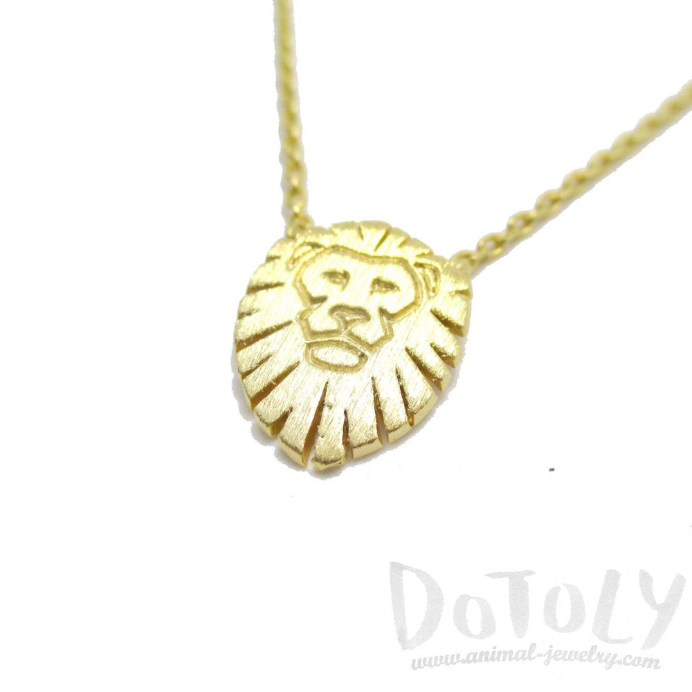 Lion King Shaped Animal Charm Necklace in Gold | DOTOLY