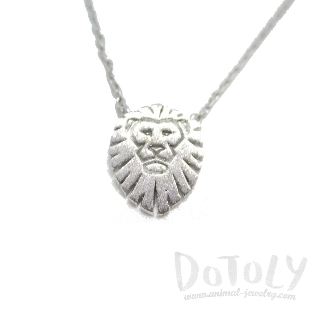 Lion King Shaped Animal Charm Necklace in Silver