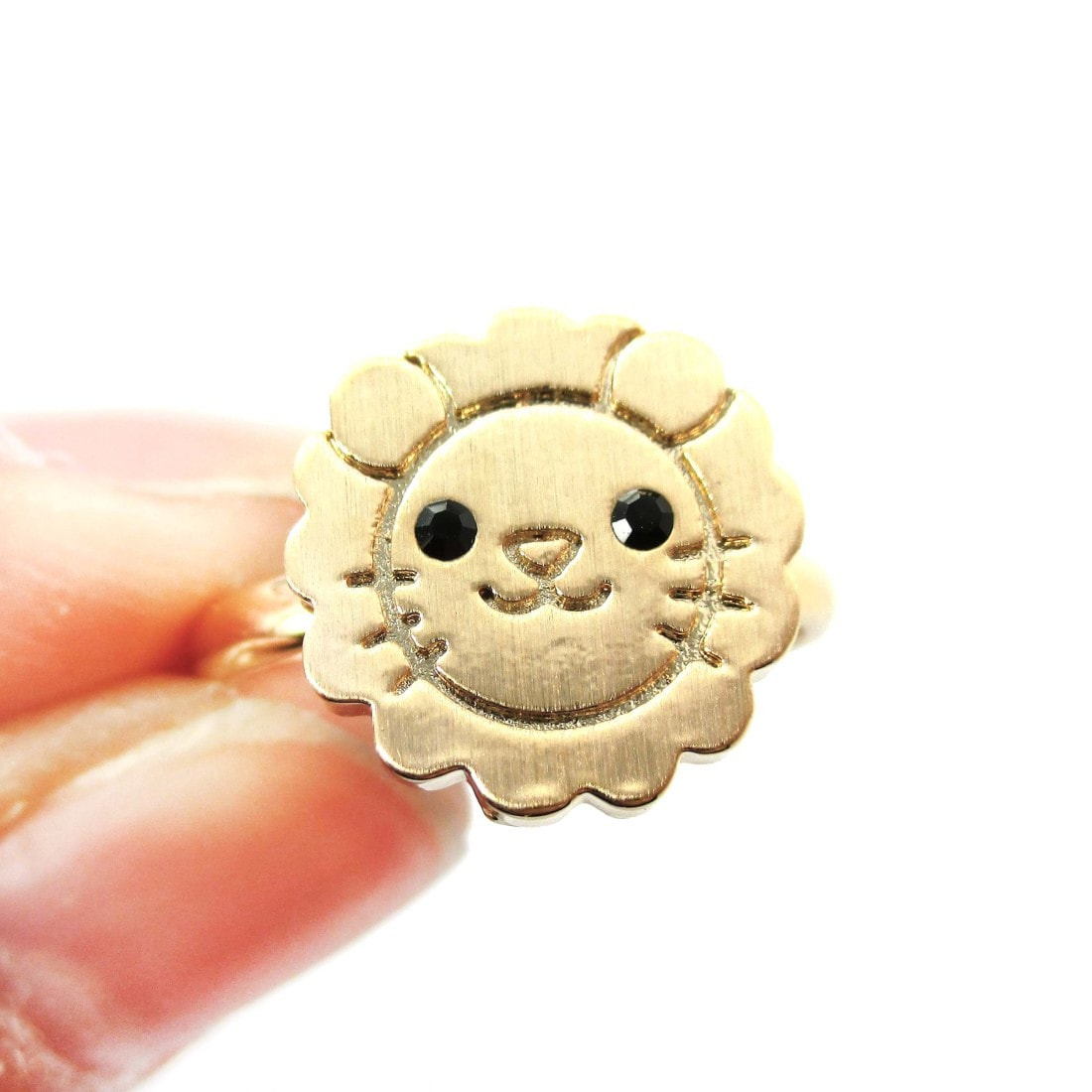 Lion Shaped Adorable Animal Inspired Adjustable Ring in Gold | DOTOLY