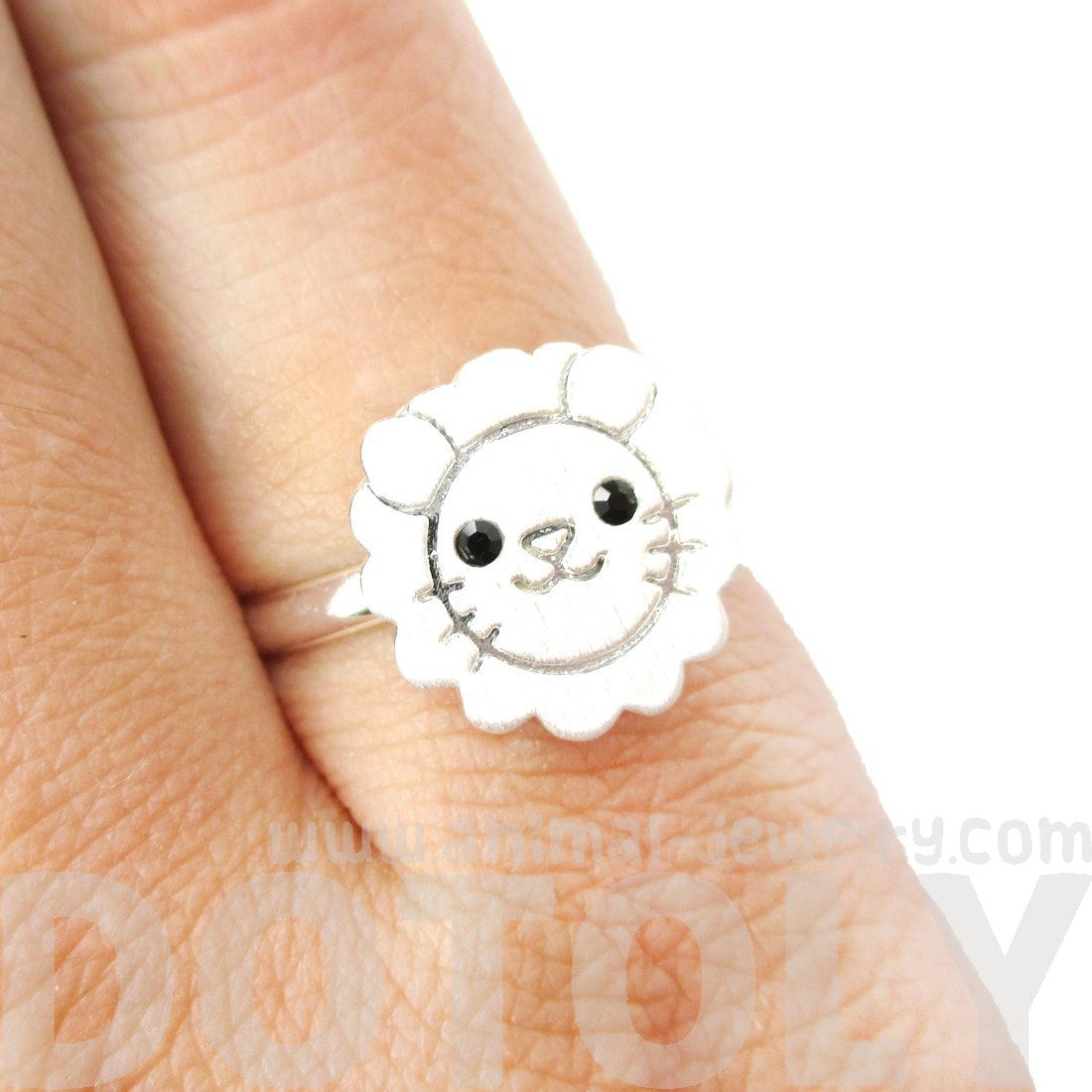 Lion Shaped Adorable Animal Inspired Adjustable Ring in Silver | DOTOLY