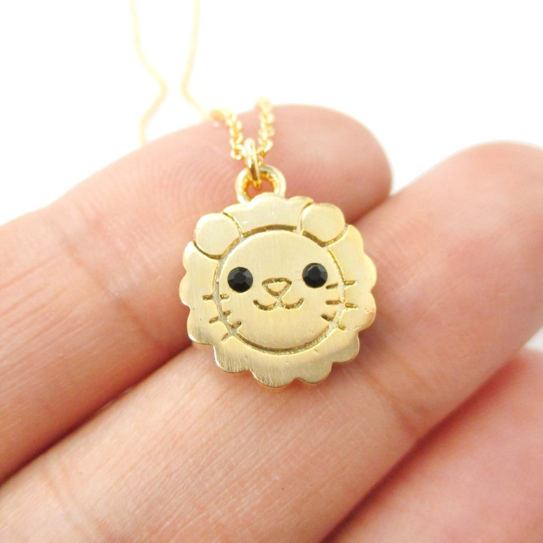 Cute Lion Shaped Adorable Animal Inspired Pendant Necklace in Gold