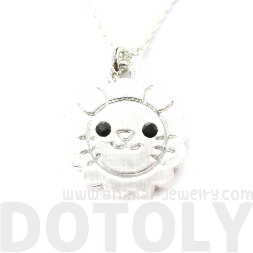 Cute Lion Shaped Adorable Animal Inspired Pendant Necklace in Silver