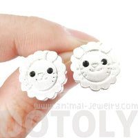 Lion Shaped Adorable Animal Stud Earrings in Silver with Allergy Free Posts | DOTOLY
