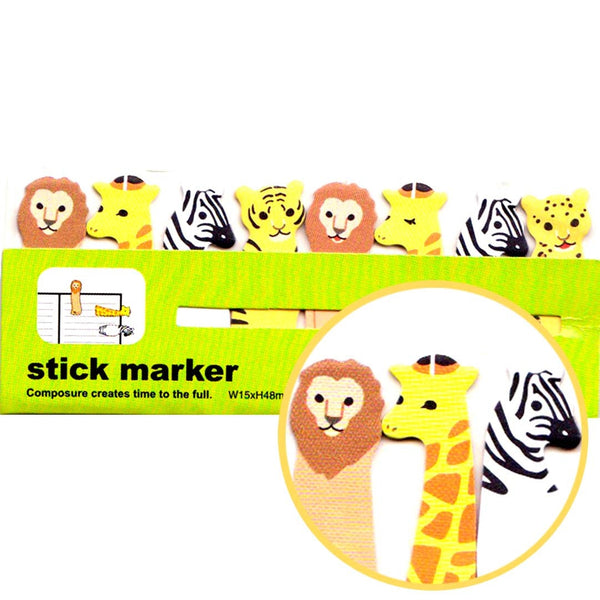 Safari Animals Themed Lion Zebra Giraffe Tiger Memo Post-it Index Tabs